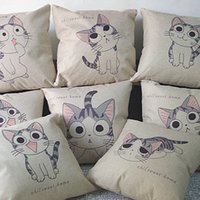 Wholesale New Cushion cover Chi s sweet home decorative CAT pillow cover linen cotton sofa couch seat pillow case cheese cat x45cm