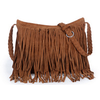 Wholesale Cheap Black Shoulder Bags - Women's Suede Weave Tassel Shoulder handbags Messenger Bag fashion Fringe satchel handbags cheap Hot Sale Z&M0605