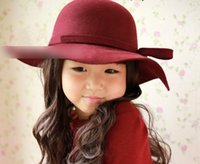 Wholesale 2015 Children Girls Hats Kids Bowknot Accessories Wool Caps Base Large brimmed Hat Girl Korean Fashion Satin Cap Candy Colors N0273