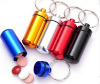 Wholesale by DHL Fedex Aluminum pill holder keychain Drug holder Keychain Cute pill box with cm ring