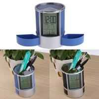 Wholesale Multifunctional Home Office Digital Snooze Alarm Clock Pen Holder temperature Display Black Blue Good Quality