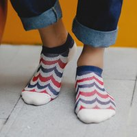 ancient knitting - Fashion Double Needle Cotton Casual Ancient Wave Striped Men Sock Slippers Five Colors New Design