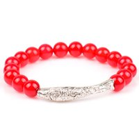 Wholesale Natural red agate bracelet high quality fashion ladies bracelets silver fish type