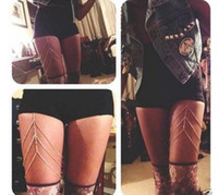 Wholesale 2014 fashion sexy body chains New body jewelry legs chain Thigh chain black and sliver gift for women girl N