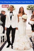 Cheap 2014 Fashionable Custom Made Groom Tuxedos Men Wedding Suits White Jacket+Vest+Pants+Tie Notch Lapel One Button jacket boss for men c246