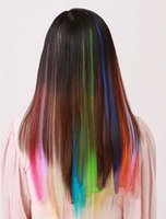 Wholesale Hot Selling Clips on Hair Extensions Colors to Choose From Popular Stars Favorite Red Blue Orange Pink Green Girls Fashion Accessories
