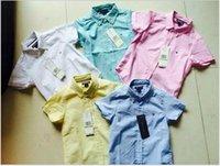 Wholesale 2015 Cotton Linen Shirt kids boy Embroidery TOMMY Children s boys gentleman Short sleeve shirts summer A5