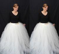 Cheap White Ball Gown Full Tulle Skirts For Women Custom Made Floor Length Layered Maxi Skirts High Waist Long Skirts Formal Skirt Maxi Skirt