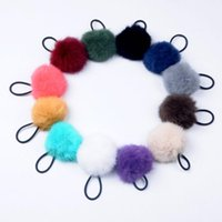 Wholesale Fashion Real Fur Ball Hair Ties Rope Style Cute Girls Women