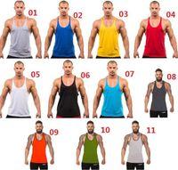 Wholesale DHL Free Men Cotton Stringer Bodybuilding Equipment Fitness Gym Tank Top shirt Solid Singlet Y Back Sport clothes Vest