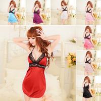 Wholesale Sexy Lady Silk Lace Lingerie Teddies Sleepwear G String Nightdress YRD amp HOT