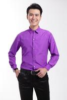 purple polo shirts - 2015 purple Mens Wedding Shirts Gorgeous Tuxedos Shirts business Men suits Groomsmen shirts Polo collar long sleeve Men s Marriage shirts