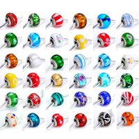 Wholesale Top Grade Silver Screw Threaded Core Murano Glass Bead Charm Fit Europe Beads Jewelry Pandora Charms Bracelets Necklaces Pendants K