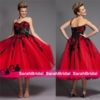 gothic design corset - 2016 Red and Gothic Black Lace Halloween Wedding Dresses Ideas Unique Vintage Design Tea Length Colored Corset Bridal Masquerade Ball Gowns