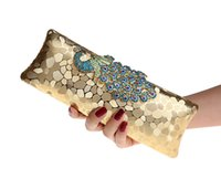 Wholesale Factory New Style Women s Peacock Evening Clutch Bag Purse Print Dot Clutch Handbag Black Gold Silver Party Dinner Purse K