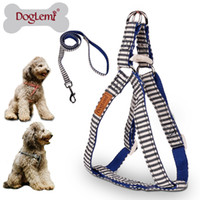 dog harness - DogLemi Nature Canvas Stripe Design Pet Harness Set Dog Puppy Cat Step in Harness With Leash Set