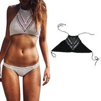 best swimwear brand - Brand new women ladies Crochet Bikini swimwear tops Strapless Backless Two Piece Separates Hand woven best selling