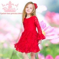 american van lines - 2015 New Original Fashionable Cute Girl Dress Red Bubble Sleeves Bud Silk Mermaid Cotton lining Knee length Princess van dress