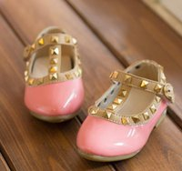 Wholesale Hot sale Children Footwear girls fashion rivets single shoes children leather shoes girls shoes EU22 children princess flat shoes kids
