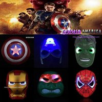 Wholesale The Avengers mask superhero mask Spiderman Hulk Ninja Turtles Captain America Iron Man LED Light mask Theater Prop Novelty or Kids Favorite