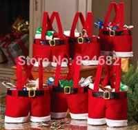 Wholesale J G Christmas Supplies Gift Bags Holiday New Year Candy Day Candy Bag Santa Claus Suspender Trousers