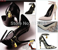 Wholesale New arrival spike heels women pumps pointed toe high heel shoes gold lock luxury women party dress shoes ankle wrap heels