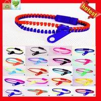 achat en gros de bracelets hip zipper-Vente en gros Candy Zipper Bracelet deux tons double couleur hip hop plastique Zip Bracelet bracelet populaire Bracelet Zipper Bracelet mélange couleur
