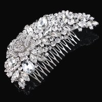 Wholesale 5 Inch Huge Top Quality Guarantee Clear Crystal Diamante Big Hair Comb Best Gift Hair Jewelry For Women H008