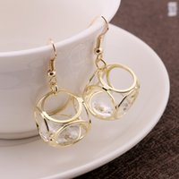 Wholesale European and American fashion exclusively earring jewelry High Quality Trends Elegant Gold Zircon Luxury Hollow Happy Cube Earrings
