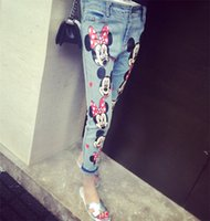 Wholesale women s mickey mouse cartoon print painted ripped destroy hole denim jeans pants trousers plus size S M L XL