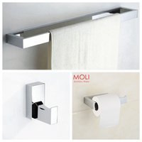 Wholesale Bathroom accessories set square towel bar toilet paper holder robe hook accessories for bathroom bath hardware set