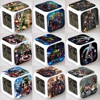 Wholesale 21 styles Avengers alliance Table Clocks LED Colors Change Digital Frozen Alarm Clocks Thermometer Night Colorful Glowing Clocks