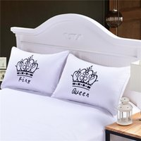 Wholesale Royal Crown Pillow Cases Queen King Designer Pillow Covers Decorative Couple Shams Set of for Gift