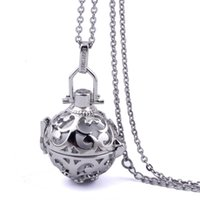 ball chain in metal - 316L Stainless Stee Chain Cage Angel Ball Necklace Colors Ball Metal Pregnancy Ball in Pendants Baby Chime Necklace