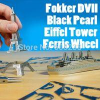 Wholesale 3D DIY Eiffel Tower Black Pearl Ferris Wheel Fokker DVII Model Jigsaw Metal Puzzle Assembled Intellegent Kids