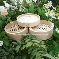 bamboo food steamers - 18cm bamboo steamer set dumplings steamers vaporera steaming basket steam for food bread vegetable kitchen aid cooking tools pot