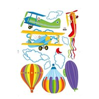 balloon paper airplane - New Removable Cartoon Airplane And Hot Air Balloons Wall Sticker Decals Nursery Kids Room Home Decor Drop Shipping HG