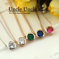 Wholesale Office Lady Favourite K Rose Gold Plated Brand Design mm Zircon Inlaid Simple Lady Pendant Necklace