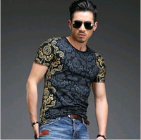Wholesale 2016 spring summer new style tops men s fashion Gilded design O neck short sleeved t shirt printing slim bottoming t shirt men t shirts