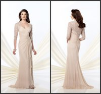anne blue - Champagne Mother Of The Bride Groom Dresses KR Formal Dress Beaded Lace Queen Anne Neckline Long Sleeves Evening Gowns