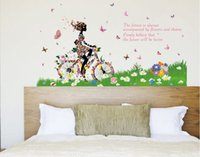 bicycle quotes - High quality Bicycle girl Butterfly flower DIY Removable Art Vinyl Wall Stickers Decor Mural Decal vinyl wall quotes