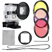 camera filter lens adapter - AOBONA mm Filter Set Kit for GoPro Hero Camera Filters Red Purple Yellow mm Filter Adapter Filter Case Lens Cleaning Cloth