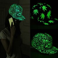 Wholesale Fashion Men Women Baseball Cap Hip Hop Glow Eyes Graffiti Maple Leaf Fluorescent Hat Hip Pop Cap Hat Snapback Luminous Black Ball Caps