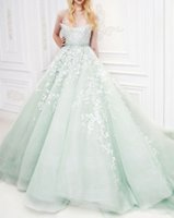 green wedding gown - Michael Cinco Wedding Dresses Mint Green Stapless Tulle Ball Gown White Applqiues Sweep Train Fitted Colored Bridal Gowns Custom Made