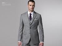 bespoke ties - 2015 Custom Made to Measure Classic Grey Wedding Tuxedo BESPOKE Tailored Groom Suits for Men Jacket Pants Vest Tie