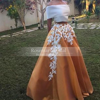 Wholesale Elegant A Line Applique Off the Shoulder Two Piece Lace Applique Prom Dresses Simples Evening Dress Party Gown Floor length