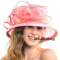 tea party hats - Women Kentucky Dardy Church Wedding Dress Hats Trendy cocktail Party Outdoor Organza Hat Fashion Travel Tea party Summer S043