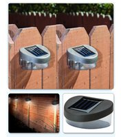 Wholesale solar powered LED fence light outdoor gardern landscape wall lamp warm white cold white option order lt no track