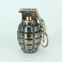 Wholesale New style antitank grenade Led keychain White light combined with laser throw Grenades metal key ring Keyfob
