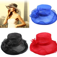 church hats - 2015 New Fashion Women Church Wedding Bridal Kentucky Derby Summer Wide Brim Hat Organza Female TYM DH